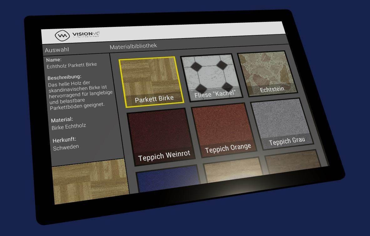 Schwarzes Tablet mit Materialbeispielen für Bodenbeläge